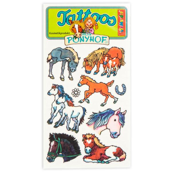 Tattookarte Ponyhof mit niedlichen Ponytattoos für Kinder, 10,5×5,6cm