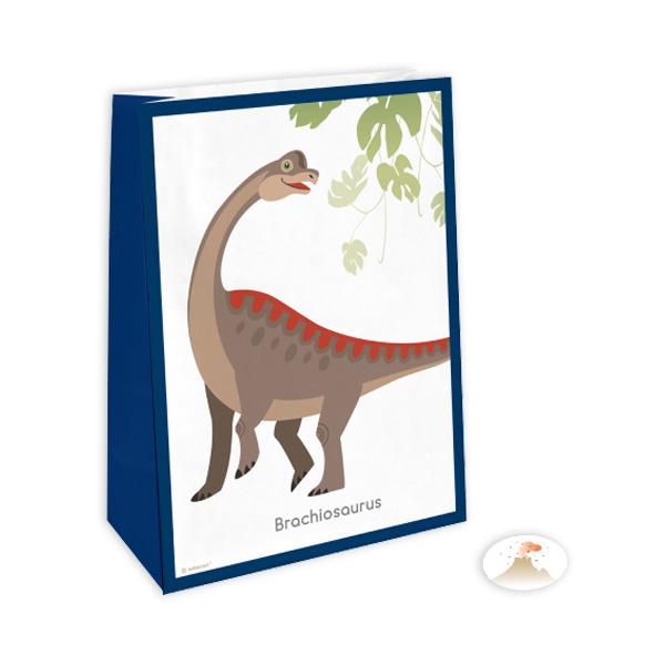 Dinosaurier Papiertüten mit Stickern im 4er Pack