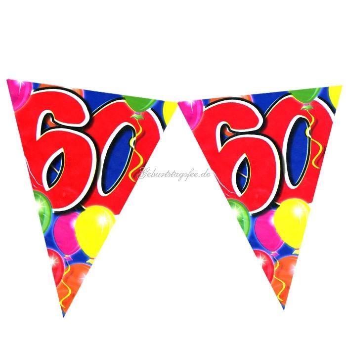 Wimpelkette zum 60. Geburtstag, 10m Partywimpel, Folie