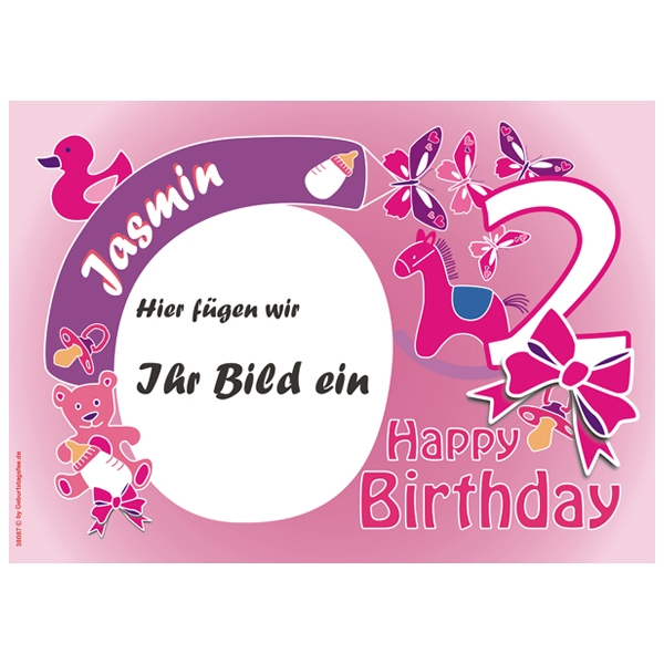 Fototorten Aufleger für 2. Geburtstag Mädchen +Name+Alter, ZA3