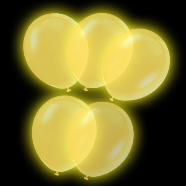 Luftballons LED - 5 Stk, gold leuchtend, 24 h
