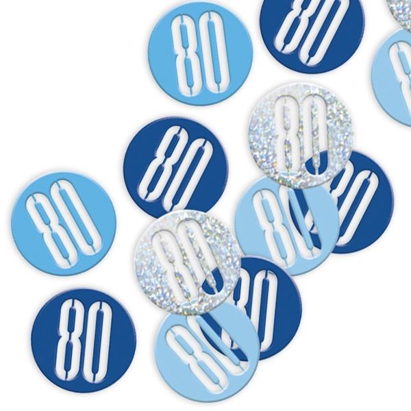 Happy Birthday Glitzerkonfetti mit Zahl 80, blau-silbern