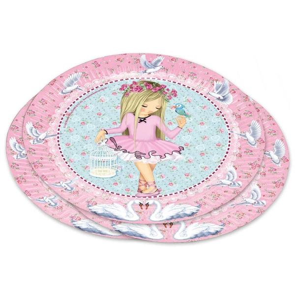 Ballerina Teller, 8er Pack, 22,8cm, für den Geburtstag kleiner Mädchen