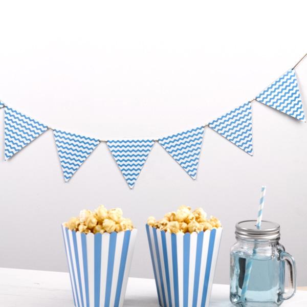 Wimpelkette blaue Wellen aus Pappe für Indoor-Feiern jeder Art, 2,2m