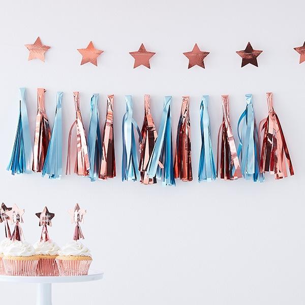 Babyparty Tasselgirlande, roségold & blau, 1,5m, Pullerparty Deko
