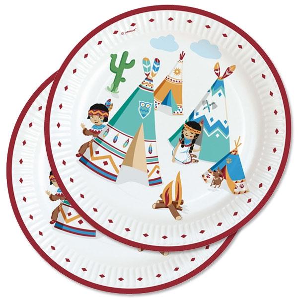 Indianer Party Teller, 8 Stk, Ø 23cm, Wilder Westen Party