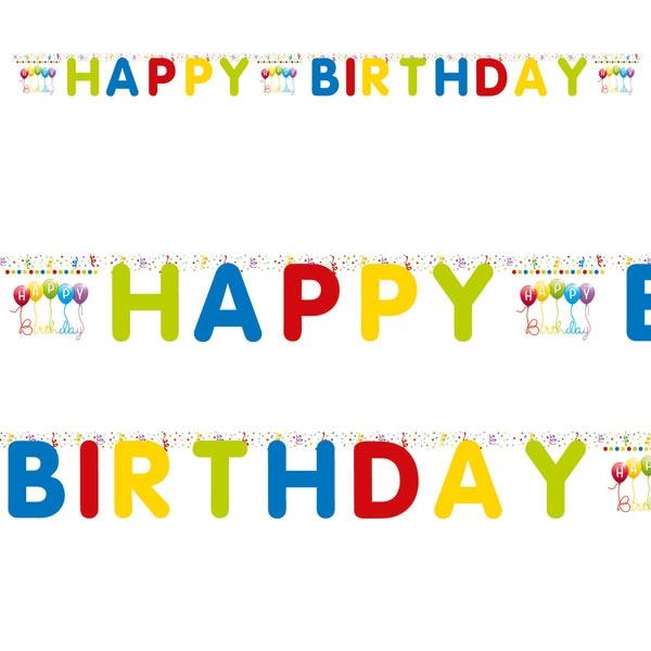 """""""Happy Birthday Luftschlangen"""" Buchstabenkette 2m"""