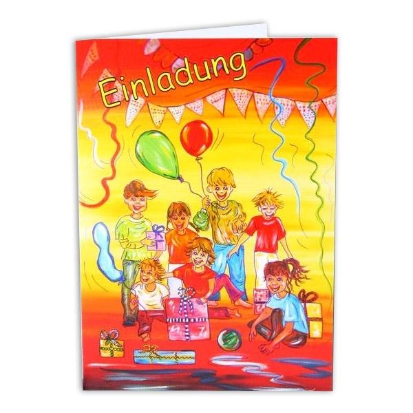 Kindergeburtstag-Einladungskarte, Partyeinladung für Kinder, 14,7x10,5cm, Pappe