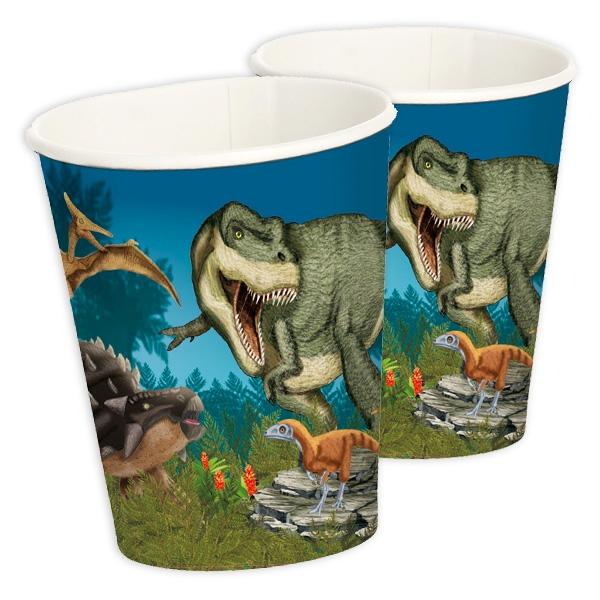 Dinosaurier Partybecher, 8 Stück, Pappe