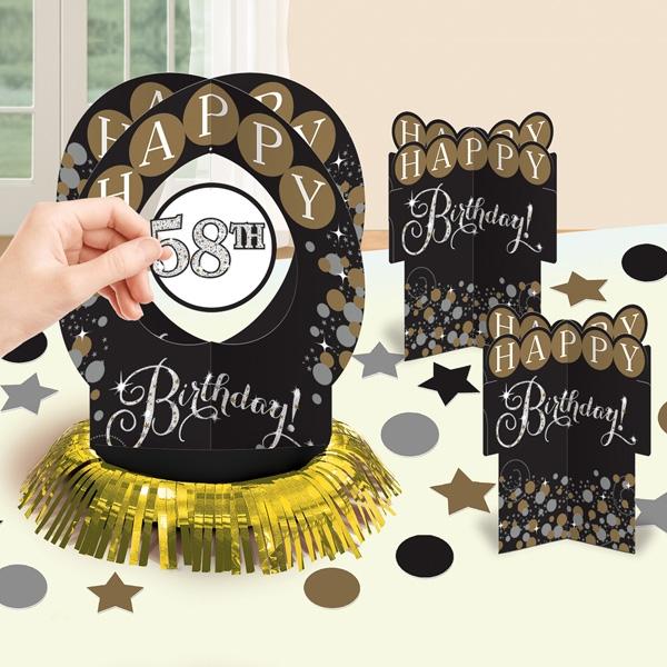 Glamour-Tischdeko-Set mit klebenden Jubiläumszahlen, 3-teilig