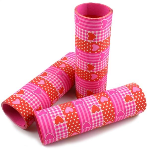 Luftschlangen pink mit Herzen für Valentinstag/Hochzeit, 3x9 Röllchen