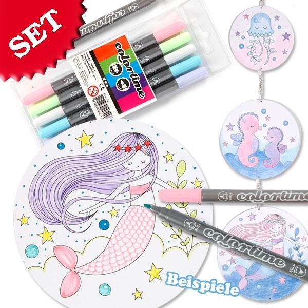 Meerjungfrauen Mobile Bastelset, 3 Mobiles + 6 Pastell-Stifte