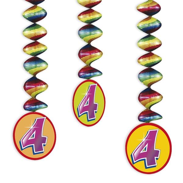 "Rotor-Spiralen, Zahl ""4"", Regenbogen-Farben, 3 Stück"