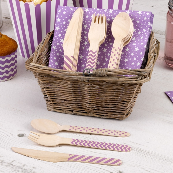 Holzbesteck lila, Einwegbesteck 24tlg., je 8 Holz-Messer, Gabel, Löffel