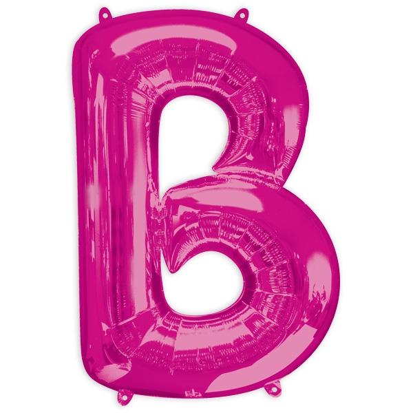 """Folienballon Buchstabe """"B"""" - Pink, mit Laschen zum Befestigen, 86 × 58cm"""