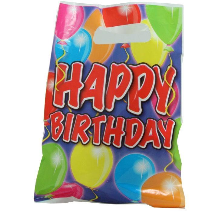 Happy Birthday Tütchen Ballonparty, PVC, 17x25 cm, 6er-Pack, Mitgebselbeutel Kinder