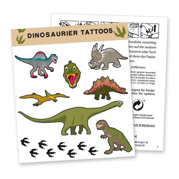 """Tattoobogen """"Dinosaurier"""" mit 8 Tattoos"""