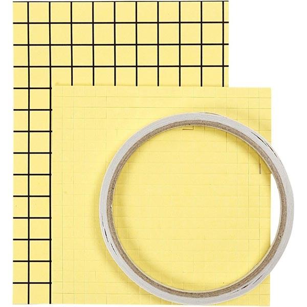 Klebe-Sortiment, Klebeband-, Pads- und Folie, doppelseitig klebend, zum Basteln