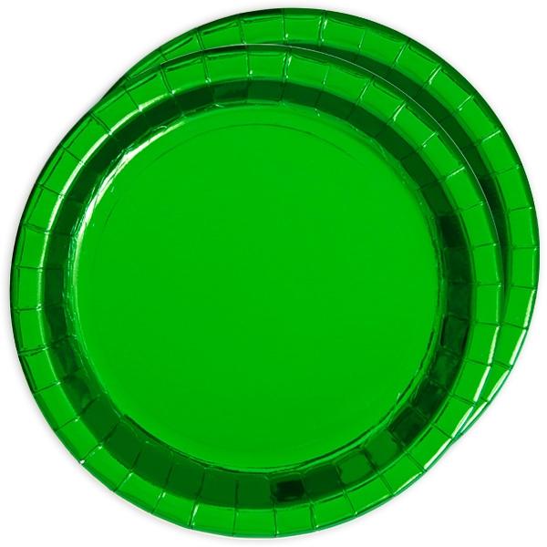 Metallic grün schimmernde Partyteller, 8 Stück, Pappe