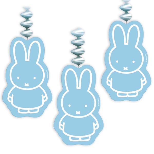 Miffy Spiralen in Blau für Jungs, süße Babyparty Deko im 3er Pack, Pappe
