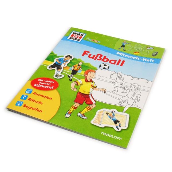 WAS IST WAS-Mitmach-Heft Fußball zum Rätseln & Ausmalen, 24 Seiten