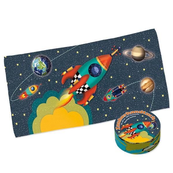 Zauberhandtuch Rakete, Geschenk für Weltraum-Mottoparty, 30x60cm
