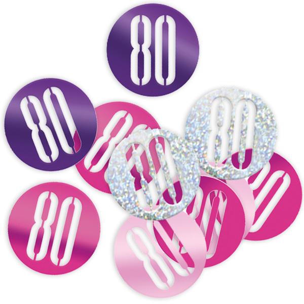 Happy Birthday Glitzerkonfetti, Zahl 80 pink-silbern