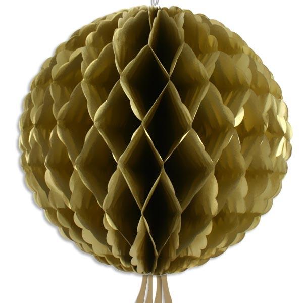 Wabenball golden mit Schnur zum Befestigen, aus Papier, 30cm
