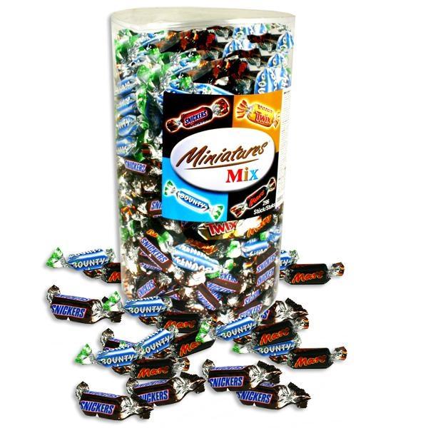 Minis Schokoriegel Mix - XXL Box 3 kg: Mars, Bounty,Twix, Süßes als Mitgebsel