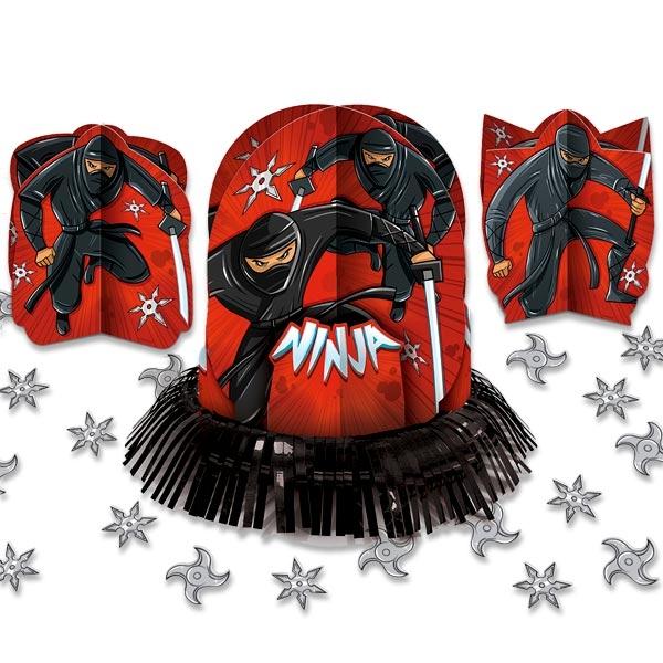 Ninja Tischdeko 3er-Set +Konfetti, 3 Tischaufsteller mit Ninjas, Pappe