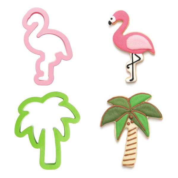 """Ausstechformen """"Flamingo und Palme"""" im 2er Set, aus Kunststoff"""