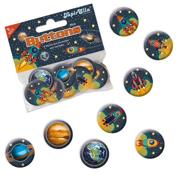 Weltraum Mini Buttons, 8 Stk