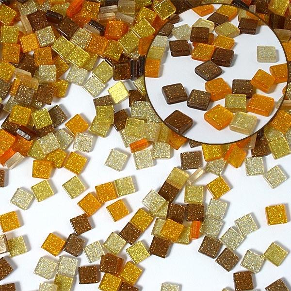 Mosaiksteine, 700 Stück, 5x5mm GLITTER MIX - braun