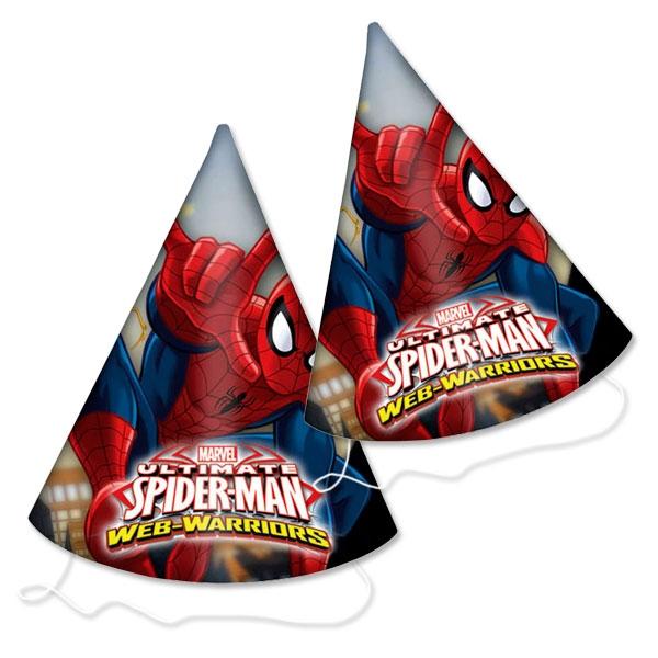 Spiderman Partyhüte aus Pappe mit Gummiband, 6er Pack, 16 cm hoch