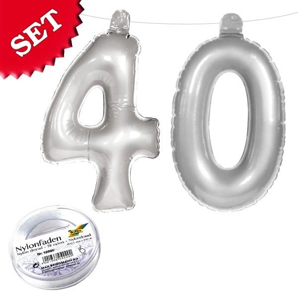 Infletter als 40 in Silber für 40. Geburtstag oder 40. Hochzeitstag