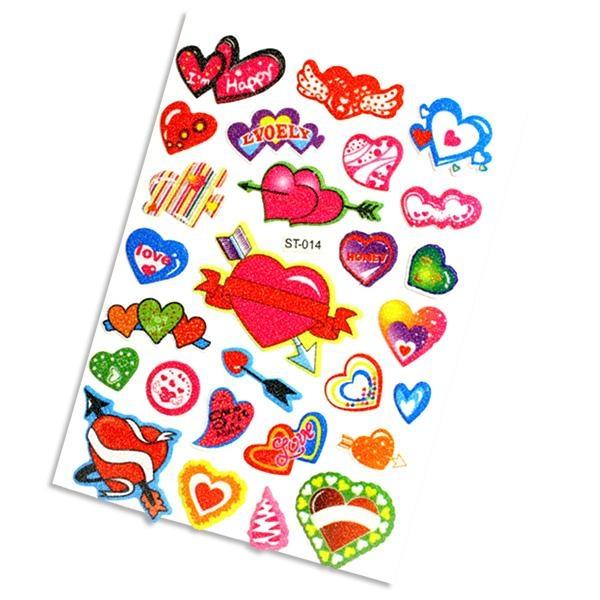 Motivherzen, Glitzer-Sticker, 27 Stück auf Motivkarte f. Loveparty + Valentistag, Liebe