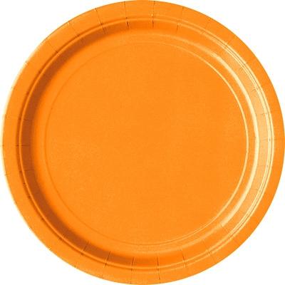 Partyteller orange, 23 cm groß,  8 Einwegteller für viele Zwecke