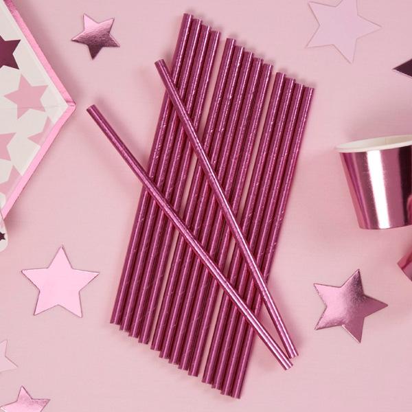 Trinkhalme, pink glänzend, 25er Pack