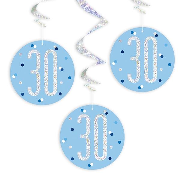 Hängespiralen zum 30. Geburtstag blau, 6-teilig