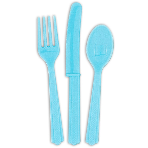 Besteck hellblau, Partybesteck mit je 6 Löffeln, Gabeln, Messern, 18-teilig
