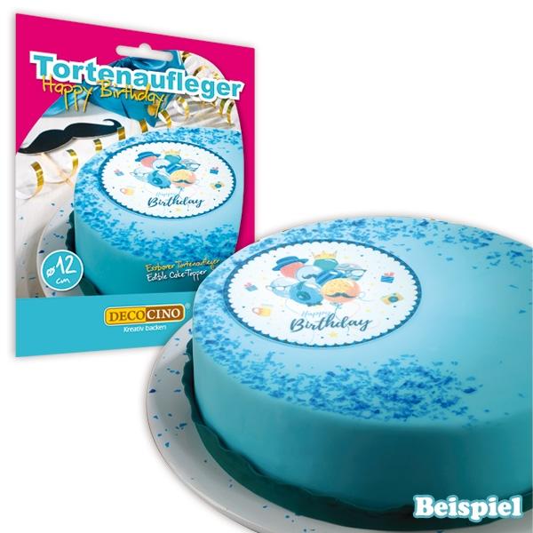 "Tortenauflage ""Happy Birthday"" in blau, Oblate, 12cm"