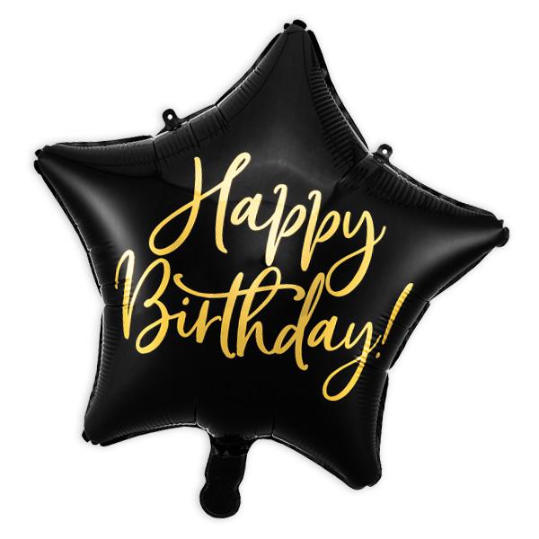 """Folienballon """"Happy Birthday"""" als Stern in schwarz, 40cm"""