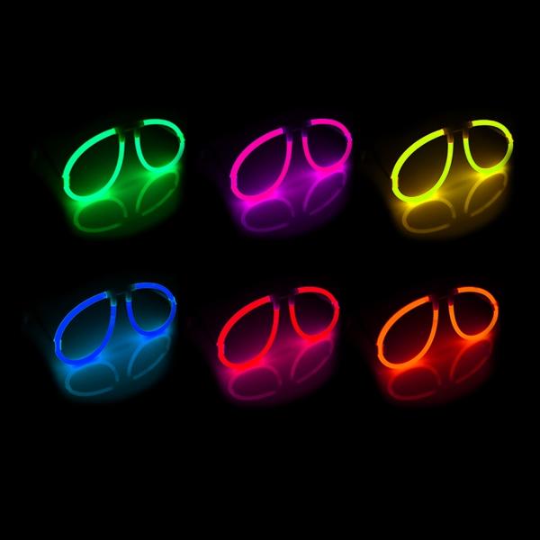 Knicklicht-Brille für Lichterpartys, Leuchtbrille als Partygag, 20 cm