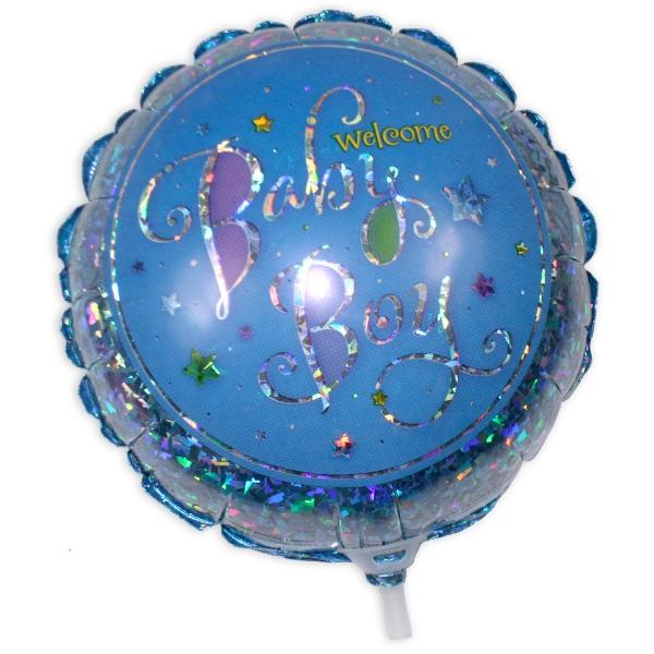 Mini-Glitzerballon Welcome Boy Girl, 17cm