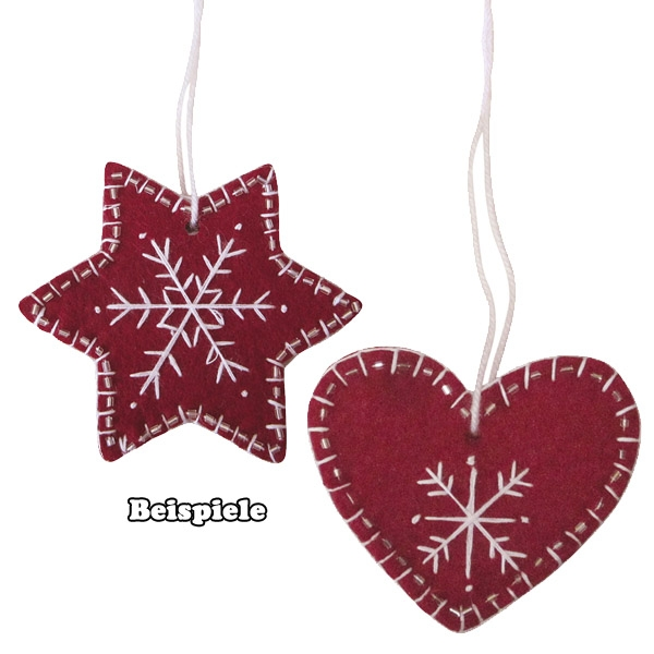 Bastelpackung Filz-Herz + Stern , 6 Stück, 7-8,5cm, Hängedeko Weihnachten