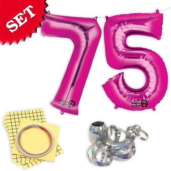 """XXL Folieballons Zahl """"75"""", pink, für den 75.Geburtstag einer Frau, 2er"""