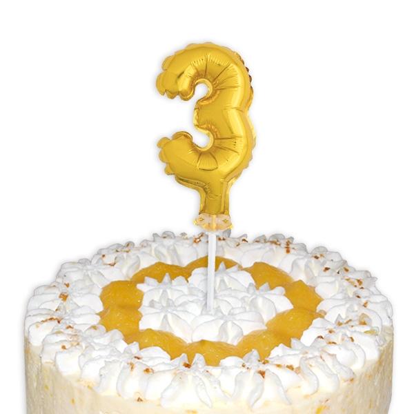"""Mini-Ballon Tortendeko, Zahl """"3"""" in Gold für 3. Kindergeburtstag, 1 Stück"""