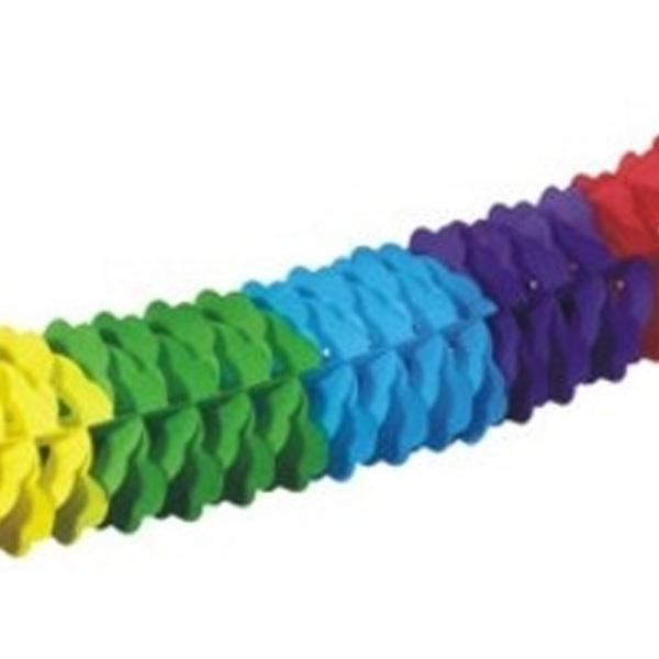 Regenbogen-Papiergirlande oval 4m, farbenfrohe Faschingsgirlande, 1 Stk.