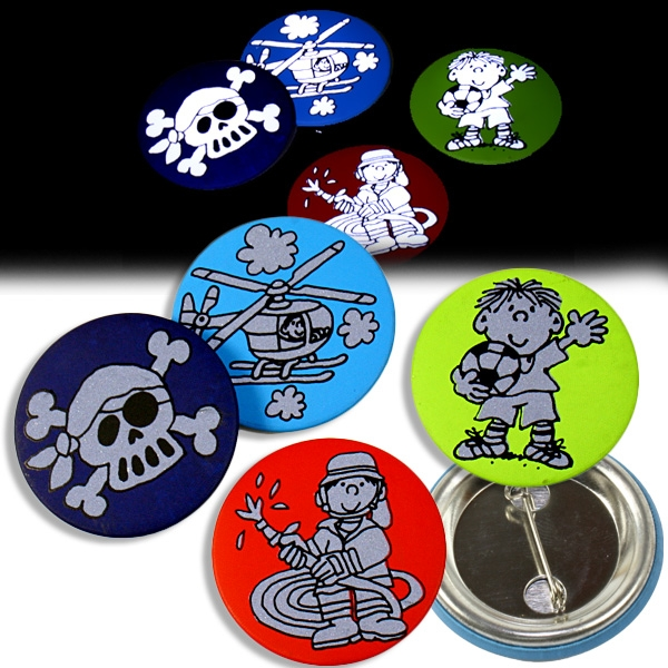 Reflektor-Buttons für Jungs, 4er Ansteckbuttons für Kleinkinder