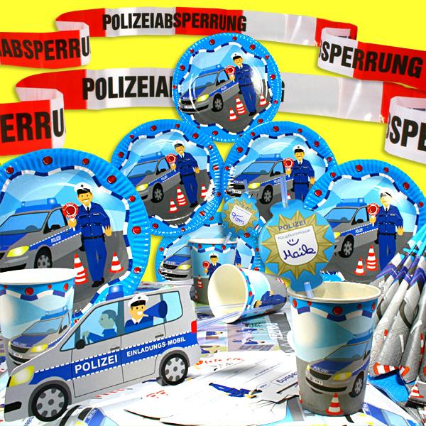 Polizei Party-Komplettset, kreative Partygestaltung für bis zu 6 Gäste